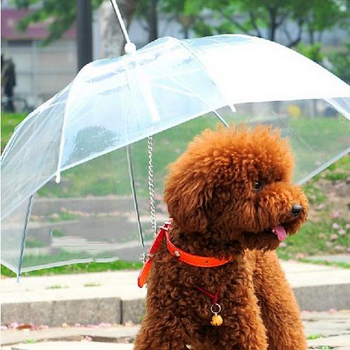 Pet Dog Umbrella Leash Pet Clean Transparent PE Dog Rain Gear for Dogs Pet