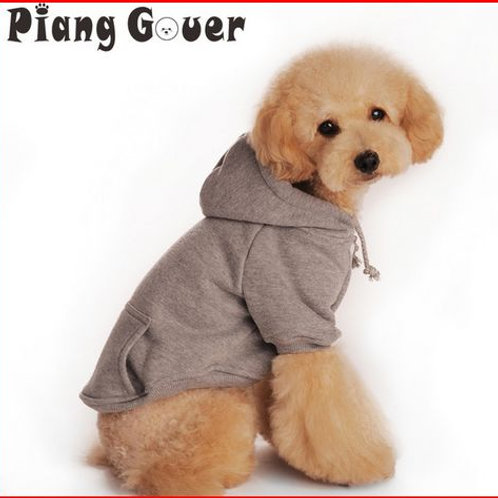 Pet Winter Warm Gray Dog Clothes Red Fleece Dog Coats With Hood