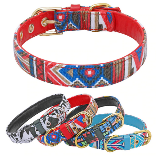 Dog Collar Printed Small Puppy Dog Collars Padded PU Leather Pet Collars for Sma