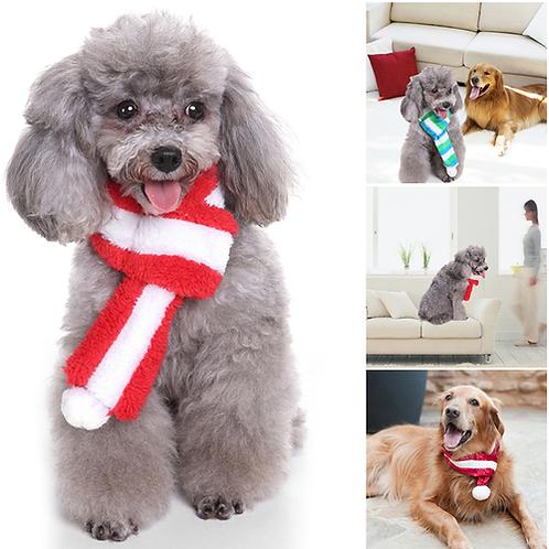 Christmas Pet Scarf Winter Warm Stripe Scarf Pet Dress Adjustable Plush Soft