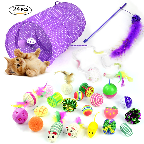 24Pcs/Set Pet Cat Toy Kit Collapsible Tunnel Cat Bell Feather Mice Shape Toy