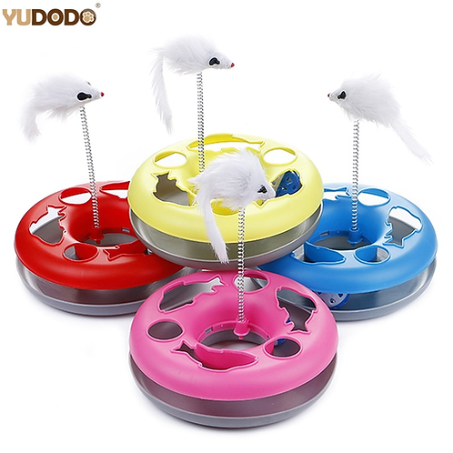 New Multiple Color Cat Toys Spring Mice Crazy Amusement Disk Multifunctional