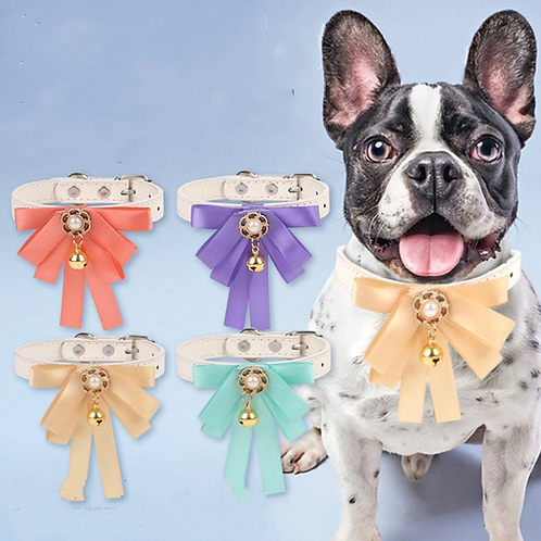 Fashionable Ribbon Bowtie Bell Dog Cat Necklace European Tyle Puppy Kitty Collar