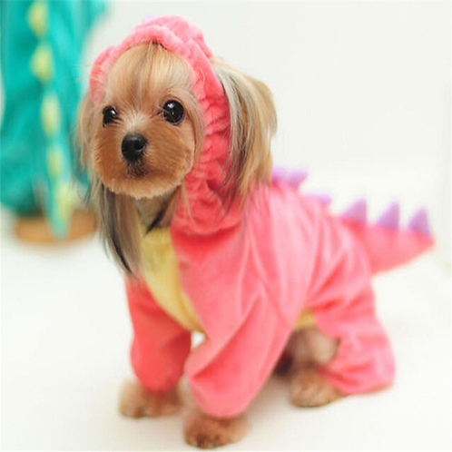 Funny Pet Clothes Dog Plush Outfit Dinosaur Costume with Hood for Small Dogs