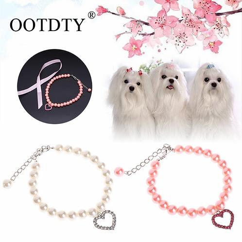 Dog Collar Rhinestone Pearl Necklace Diamond Pet Collars Mascotas Dog