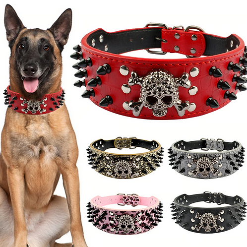 """2"""" Wide Spiked Studded Leather Dog Collar Bullet Rivets With Cool Skull Pet Acce"""
