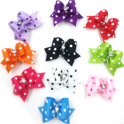 5Pcs Lovely Pet Grooming Accessories Random Color Hair Bow Dog Rubber Band Pet