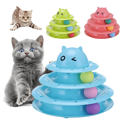 Crazy Ball Disk Cat Toys Funny 3 Layers Interactive Pet Turntable Amusement Plat