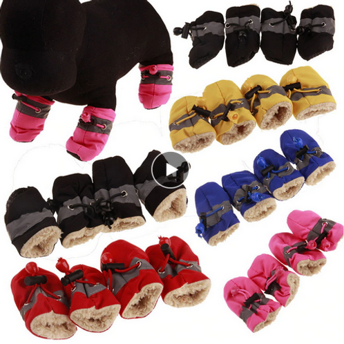 Hoomall 4pcs Dog Shoes Autumn Winter Plush Velvet Shoes For Dogs 7Size Small Med