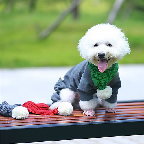 Pet Supplies Knitted Furry Dog Cat Scarf Solid Winter Warm Pet