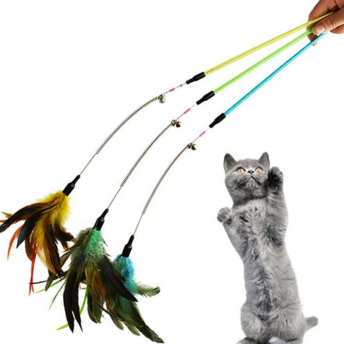 Strong-Toyers New Pet Cat Toy Kitten High-quality Pet Cat Feather Spring