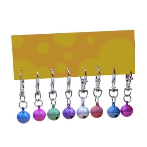 8pcs Colorful Pet Dog Cat Collar Bells Hair Accessories Pretty Sandblasting