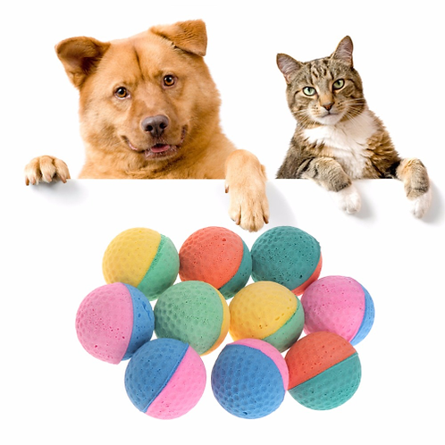 10 Pcs Pet Toy Latex Balls Colorful Chew For Dogs Cats Puppy Kitten Soft