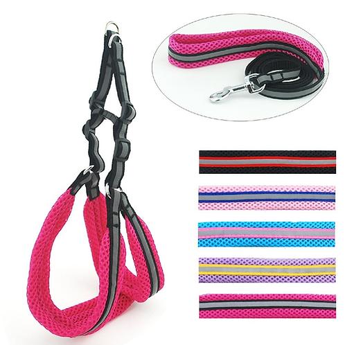 Pet Products Puppy Small Medium Dog Pet Reflective Padded Harness Leash Set