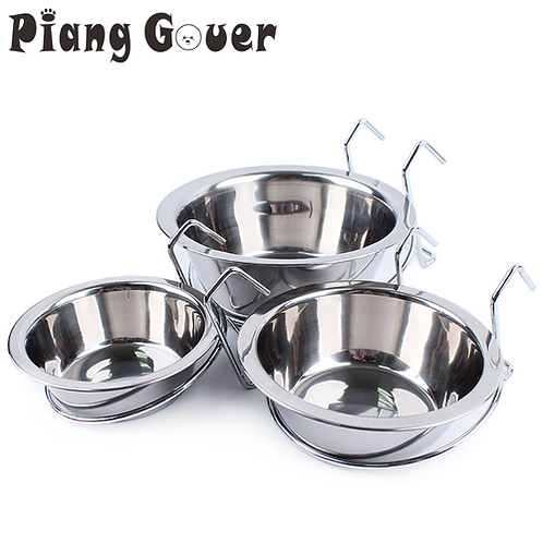 Pet Cat Feeder Supplies Stainless Steel Suspended Dog Food Bowl Hang Cage Water