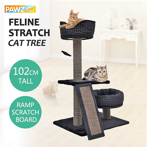 Domestic Delivery H120cm Cat Tree Houses Fashion Design with Cat Condos Bed
