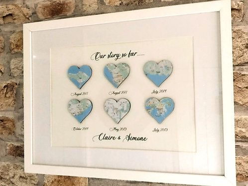 6 heart personalised map - Our Story So Far