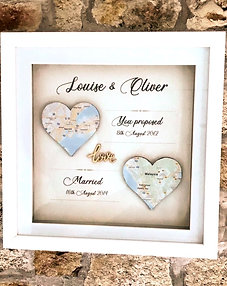 2 heart personalised map in frame