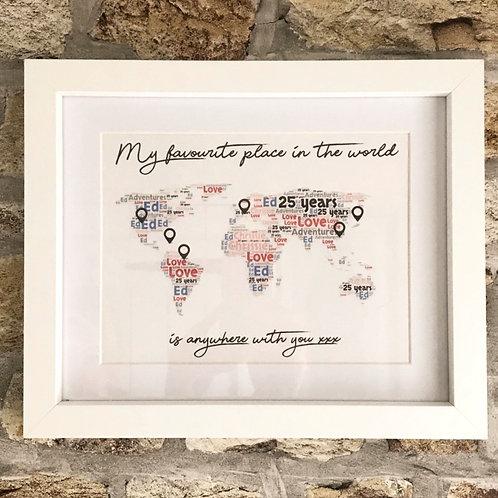 Personalised word art map in frame