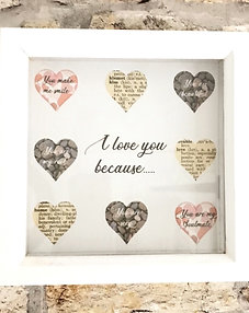 'I love you because..' for her, personalised frame