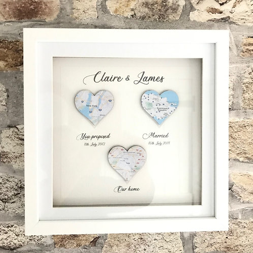 3 heart personalised map in frame