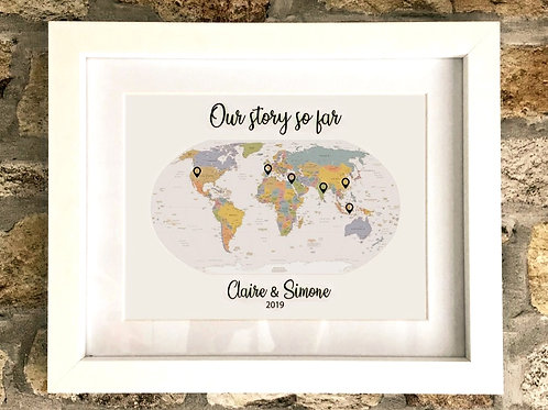 Our story - Personalised world map in frame