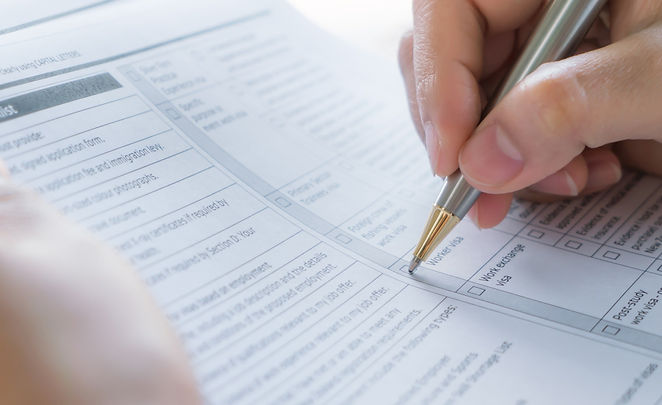Person completing a form
