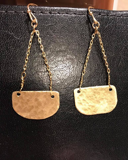 Hand Cut and Hammered Metal Earrings