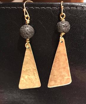 Lava Stone and Hand Cut Metal Earrings