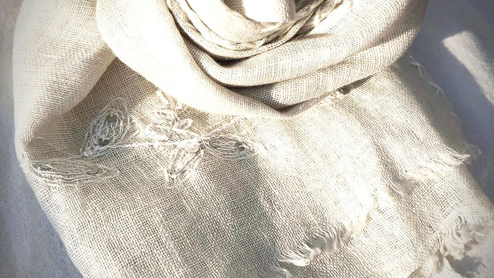 リネンフラワー刺繍ストール ナチュラルベージュ