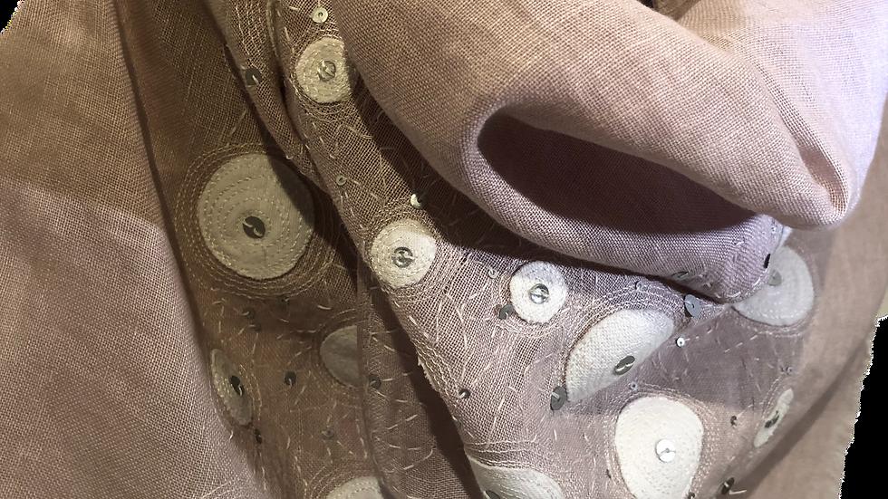 リネンコットン刺繍ストール ピンクベージュホワイトドット