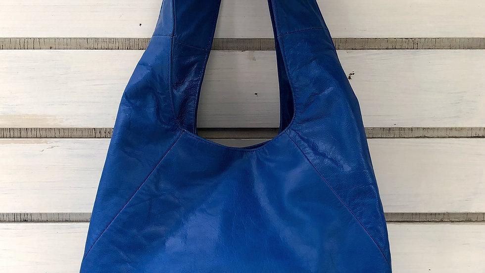 レザーオーバルバッグ ブルー