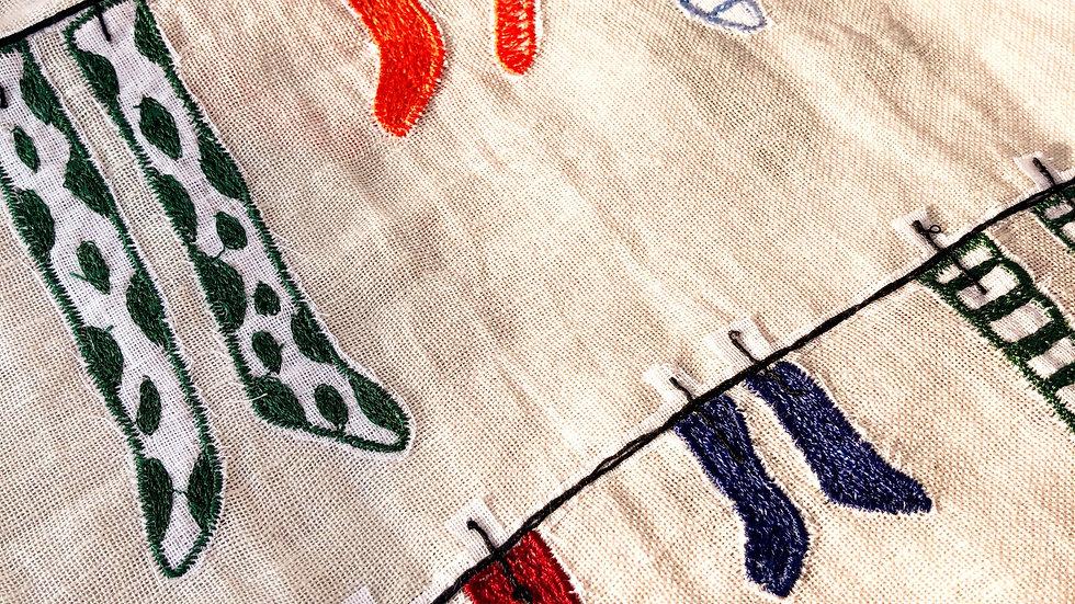 コットンリネン刺繍ストール Socks
