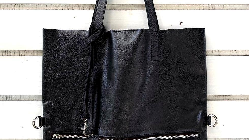 ジップフラットトートバッグ(カードホルダー付)ブラック