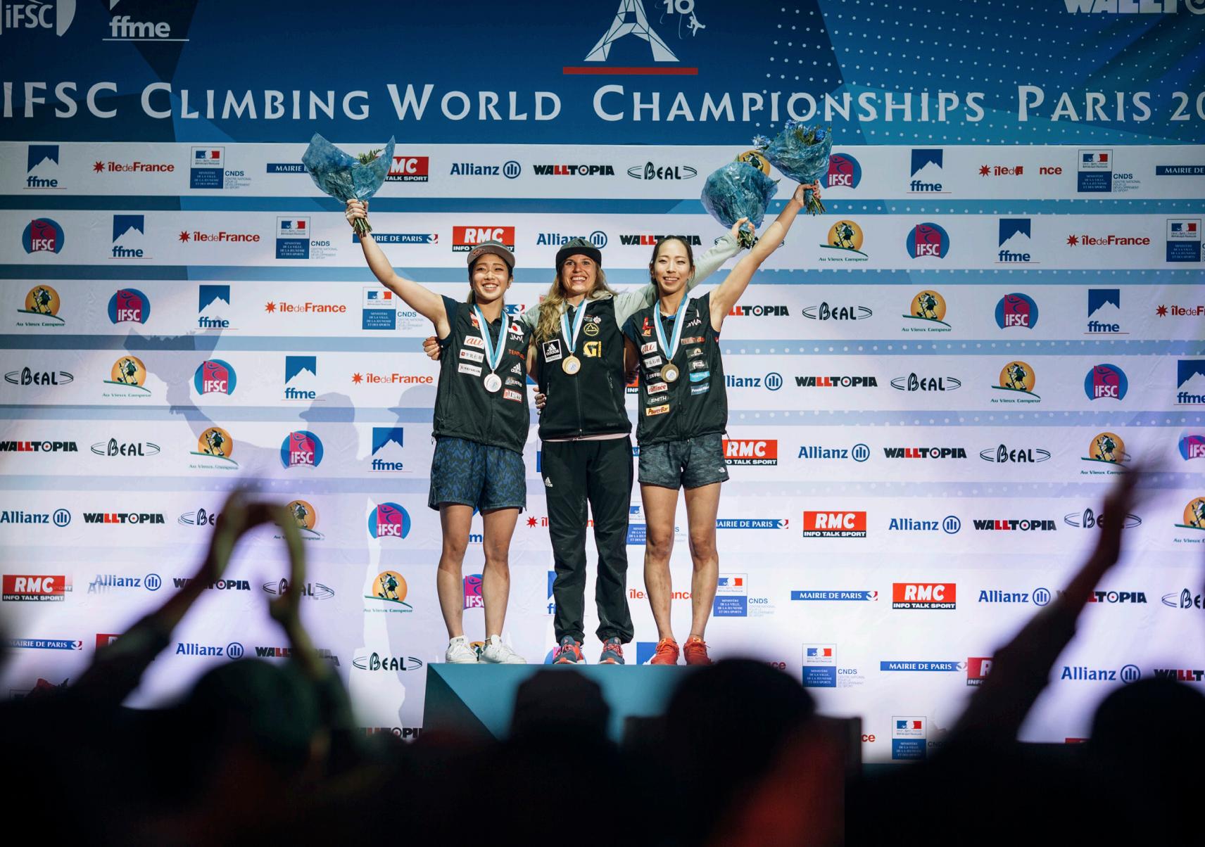 Weltmeisterin Bouldern Petra Klingler in Paris 2016