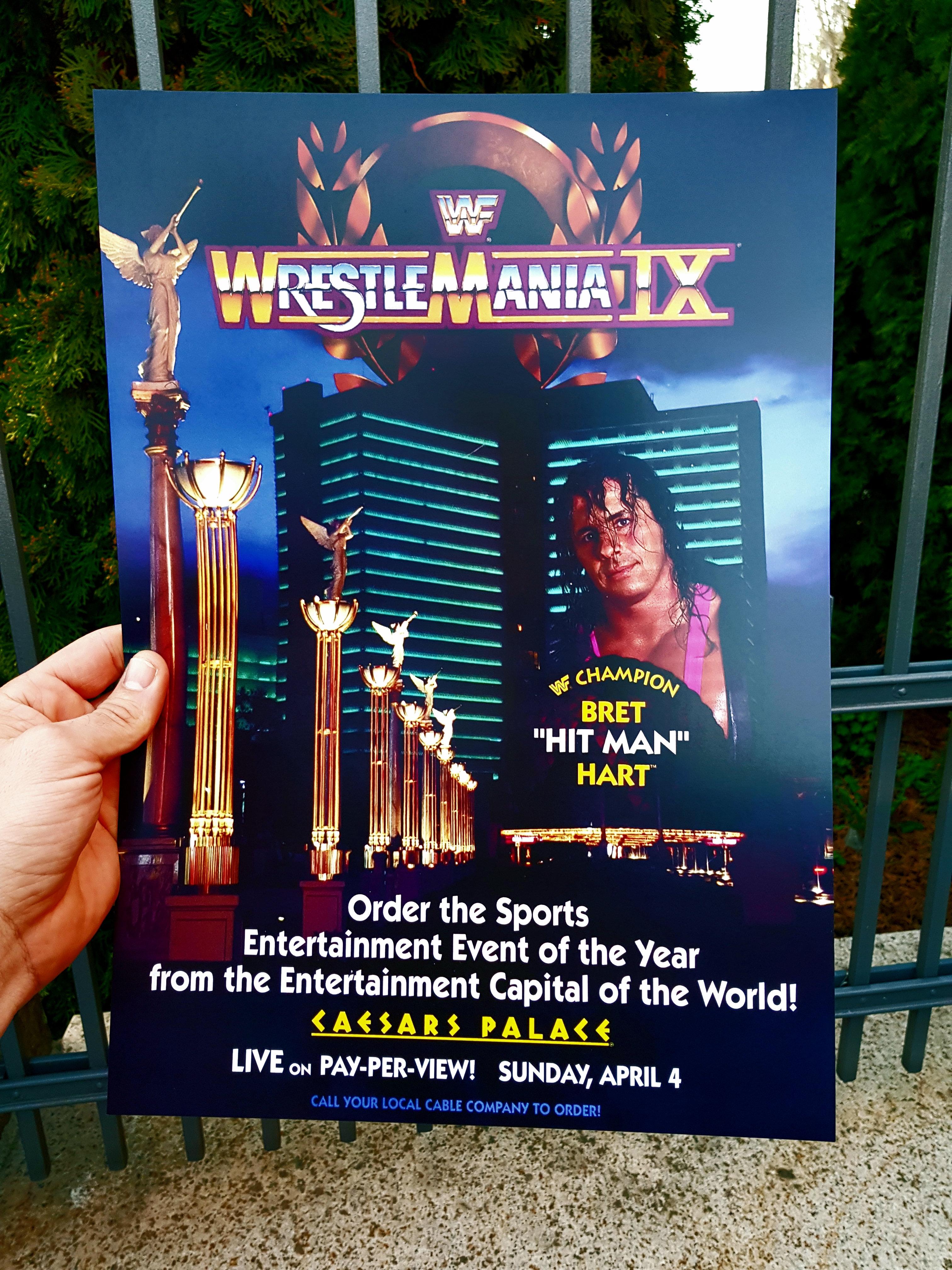 WRESTLEMANIA IX 9 WWF WRESTLING POSTER BRET HITMAN HART HULK HOGAN    hasbromaniacs