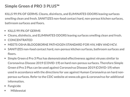 Disinfectant Spray Info: Simple Green D