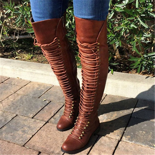 Long Boots Lace Up Leather Female Over  Knee Boots  Plus Size 34-43 Ladies