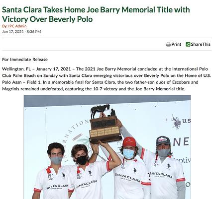 Santa Clara Wins Joe Barry Memorial