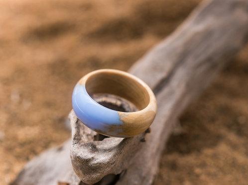 Wood resin Ring Blue Pastel