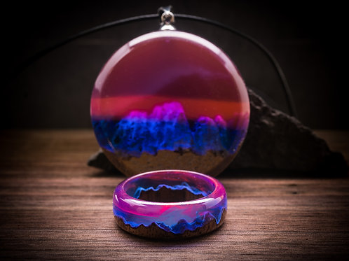 Wooden Set Norway Lights (ring &pendant)