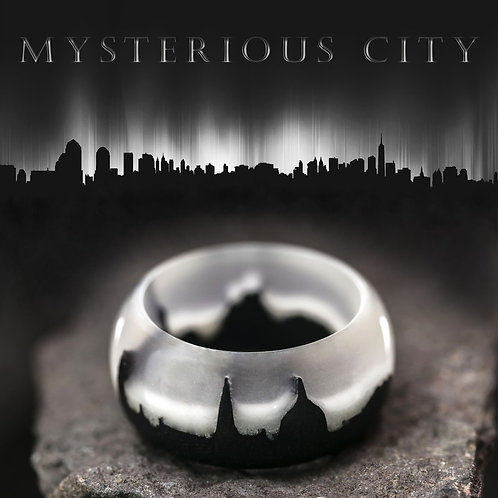 Mysterious City Wood resin Ring