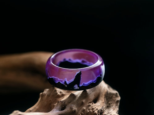 Wood resin Ring WOLF
