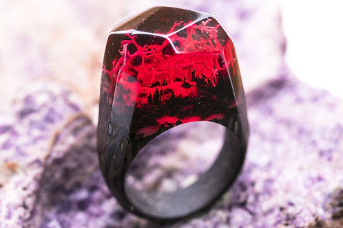 Wood Ring Red Coral
