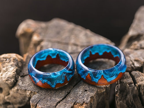 Engagement Rings 2pcs Midnight City Wood resin