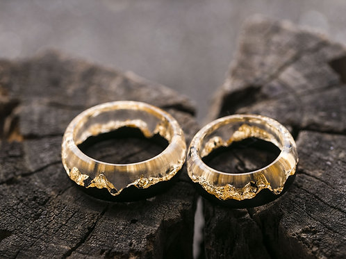 Engagement Rings 2pcs Gold Wood resin