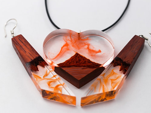 Wooden Set Volcano (earrings& pendant)