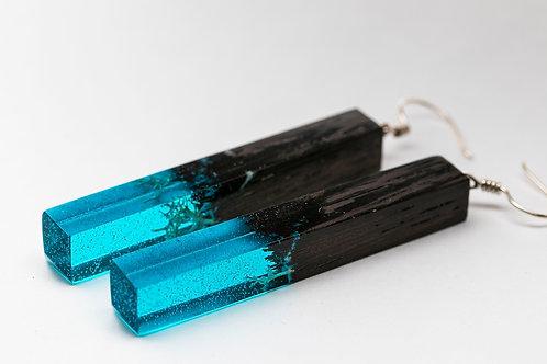 Wooden resin Earrings Coral