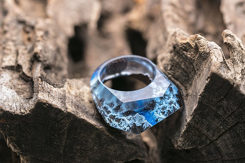 Wood resin Ring Eternity Winter