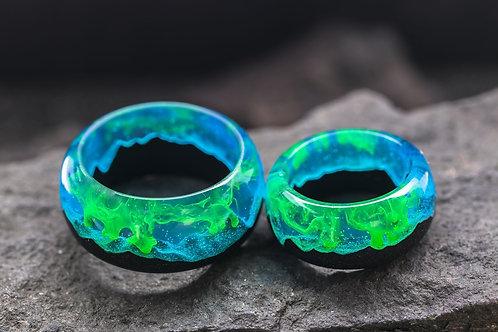 "Engagement Rings 2pcs ""Polar Night"" Wood resin"